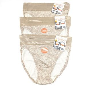 Warner's Cotton Lace Hi-Cut Brief 3 Bundle